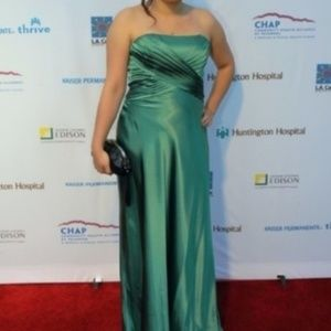 Bari Jay emerald green strapless satin maxi gown